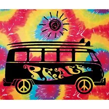 "40""x45"" Tie-Dye Peace Bus Cloth Tapestry New"