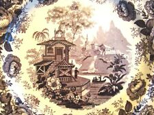 "Transferware Staffordshire Purple Transfer Montes Pyrenenses Plate 10"" 1827-1840"