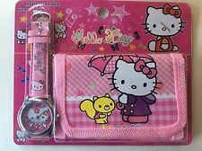 Childrens Girls Bows Flowers Hello Kitty Cat Purse Wallet Watch Toy Gift Set 2