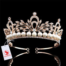 Wedding Bridal Pageant Pearl Crystal Rhinestone Hair Tiaras Rose Gold Alloy Band
