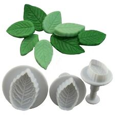 3Pcs Cake Rose Leaf Plunger Fondant Decorating Sugar Craft Mold Cutter Tools