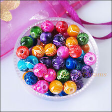 100 New Charms Mixed Acrylic Plastic Round Flower Spacer Beads 6mm
