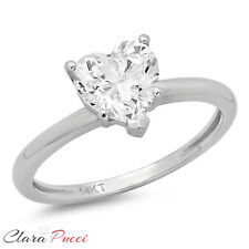 1.0CT BRILLIANT HEART SHAPED CUT SOLITAIRE ENGAGEMENT RING REAL 14K WHITE GOLD