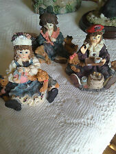 Three Little Girls with Teddy Toys Ornaments - Job Lot