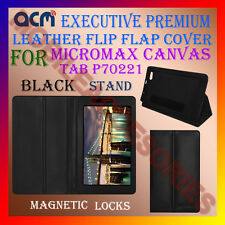 ACM-EXECUTIVE LEATHER FLIP CASE for MICROMAX CANVAS TAB P70221 COVER STAND-BLACK