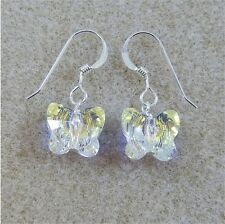 Sterling Silver Drop Earrings With Swarovski Elements Crystal Butterfly Clear AB