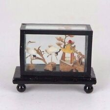 "Chinese Cork Sculpture Picture w/ Cranes Black Wood Frame Encased Glass 2.5""L"