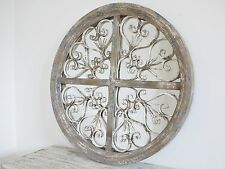 Circular/Round Wooden Rustic Style Distressed/Shabby Mirror White/Blue