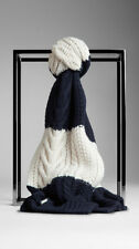 NWT BURBERRY $550 ARAN UNISEX CASHMERE WOOL KNITTED SCARF WRAP