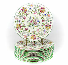 12pc Minton Haddon Hall Porcelain Salad Plates; Hand Painted Multicolored Floral