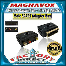GOLD plated MAGNAVOX SCART Input & Output  to 3 RCA  Audio & Video Adapter Box