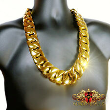 SOLID STAINLESS STEEL OVER 14K YELLOW  G/P XXXLTHICK MIAMI CUBAN LINK NECKLACE