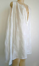 """CP Shades 100% Linen White Embroidered Oversized Flowing Dress Sz M (54"""" Bust)"""