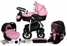 New Baby Pram Pushchair 3in1 Child Stroller Buggy Car Seat Travel System