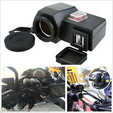 5V 2.1A Dual USB Ports Motorcycles Cigarette Lighter Phone GPS Charger W/Switch