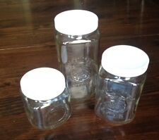3 GOLDEN HARVEST Anchor Hocking Glass Canisters Mason Jars w/ Lids Sm Med Lg Whi
