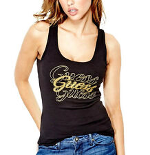 NEW Genuine GUESS Black Sparkly Logo Vest Tank Top T Shirt Womens Size Medium