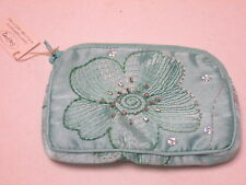 Turquoise Blue Flower Sparkly Sequin Bead Coin Purse Credit Card Wallet #8F4