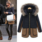 New Womens Warm Winter Fur Collar Coat Hooded Parka Overcoat Long Jacket Outwear