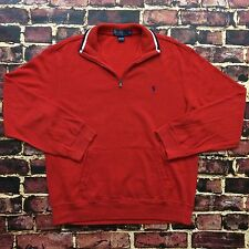 Vintage Polo Ralph Lauren Half Zip Turtleneck Sweater L Large Red White Blue