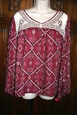 Xhileration boho peasant folk top L/XL embroidered lace burgundy ivory NEW