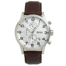 Hugo Boss 1512447 Mens Leather Strap Stainless Steel Chronograph Watch