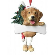 Golden Retriever Dangling Wobbly Leg Dog Bone Christmas Ornament