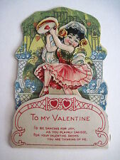 Vintage Antique Adorable Pull Down Valentine Card w/ Little Gypsy & Tambourine *