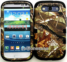 Samsung Galaxy S3 Hybrid Cover Case Silicone Mossy Camo Branches Leaf on Black