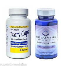 Skin Whitening Glutathion Ivorycaps Pills + Relumins Advanced White Oral Capsule