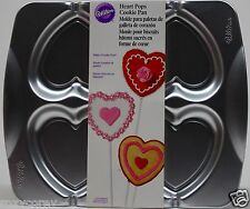 Valentine's Day Wilton Heart Pops 4 Cookie Pan 2105-0537 Aluminum Pan NWT