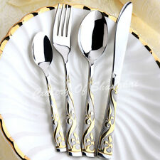 24 Pieces Gold Stainless Steel Cutlery Set UK Of Great Britain 24K Royal Family