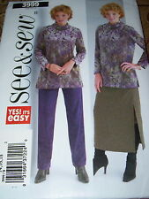 BUTTERICK #3999 - LADIES WINTER TUNIC & PULL ON PANTS & SKIRT PATTERN  20-24  FF