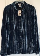 NWT Chicos Blue Crushed Velvet Jacket Womens Sz 3 XL Rayon Silk Lined Button