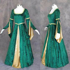 Medieval Renaissance Green Gold Gown Dress Costume LOTR Wedding 4X
