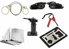11pcs Emergency Survival Camping Hunting Kit Hand Saw Butane Torch Compass slab