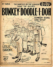 SHEET MUSIC - BUNKEY-DOODLE-I-DOH - LESLIE SARONY SONG  - JEFF COOK COVER (1929)