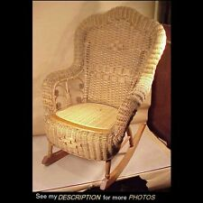 Great Antique Whitney Reed Chair Co Child's Rocker Rolled Arms and Back