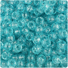 500 Lt Turquoise Sparkle 9x6mm Barrel Pony Beads Made in the USA by The Beadery