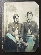 2 Civil War Military Soldiers one With Cigar TinType C002NP