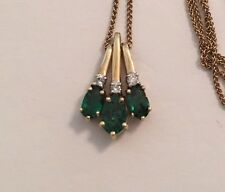 "14K Yellow Gold Natural Genuine Emerald & Diamond Pendant Necklace 20"" Chain"