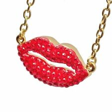 Butler And Wilson Hot Lips Red Swarovski Crystal Necklace WOW!