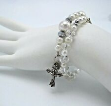 Clear Crystal & White Pearl 1 Decade Rosary Bracelet in Gift Bag