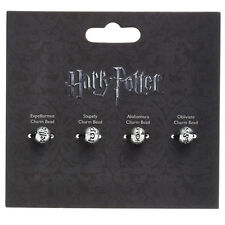 Official Harry Potter Spell Bead Charm Set of 4 Silver Plated Engraved Books