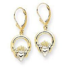 14k Two-tone Claddagh Leverback Earrings-NEW!