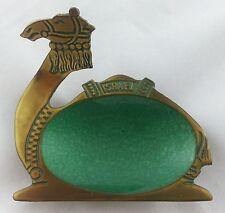 Vintage 1960s Atomic Brass Camel from Israel Hakuli Green Enamel Bowl Dish
