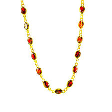 Gold Plated 24k Necklace With 6x8 mm Cubic Zirconia 25'' Goods Quality