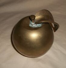 VTG Large Brass Apple Paperweight Decoration Made in India Heavy Brass Apple