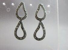 Sterling silver and marcasite dangle drop earrings