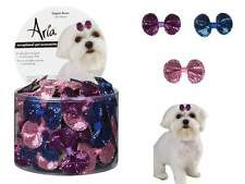 Aria - Canister of 100 Bows - Sequin - Dog Puppy Grooming Bow - 1 3/4""